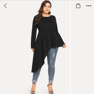 Tops - Top - Black peplum hi low long sleeve top